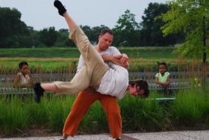Playground performance in Bladensburg on the Anacostia River - performers Lotta Lundgren and Daniel Burkholder
