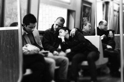 Love On a Train, Black and White Photo (c) Linwood Davis, 2012