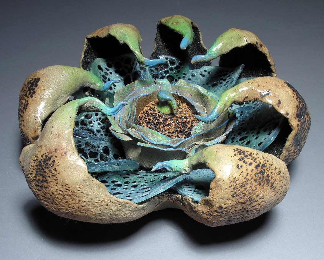 Alison Sigethy and Liz Lescault, Blue Peristome, 2013, Ceramic, 8hx13inches