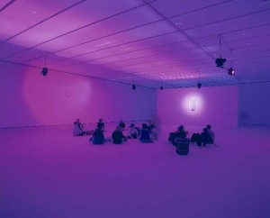 "An image from an installation/performance of La Monte Young's ""Dream House"""