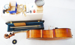 A table of instruments prepared by Gary Rouzer for performance