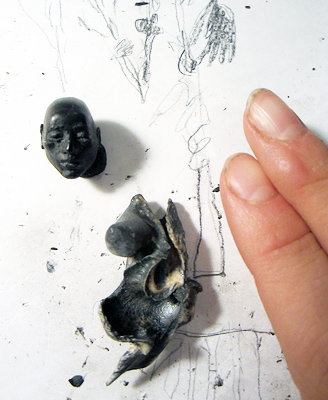 In progress (2015) photo of 'In The Pines', including the artist's daughter's fingers to show scale.