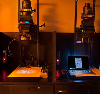 A photograph of the author's setup for the Generative Darkroom experiments. Photo courtesy the author.
