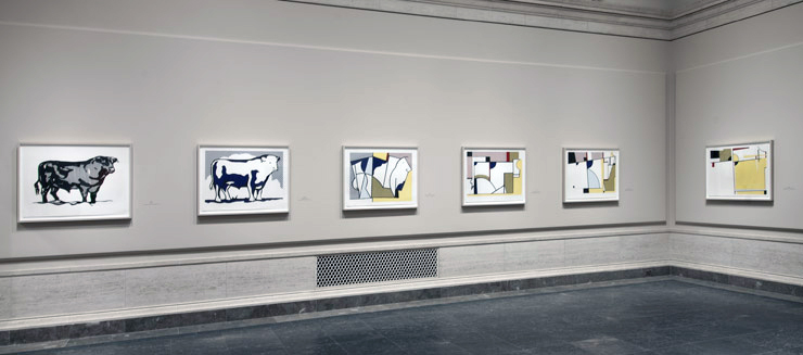 Installation view of National Gallery of Art exhibit - Lichtenstein Bull series